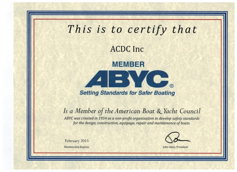 AC DC Marine, Inc.™ ABYC Certified