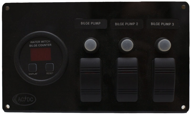 bilge pump panel with digital counter for 3 pump system