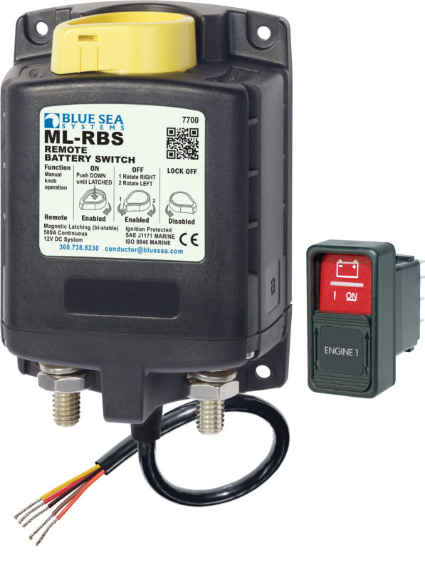Marine Battery Charging Systems : Blue sea remote battery switch with manual control v