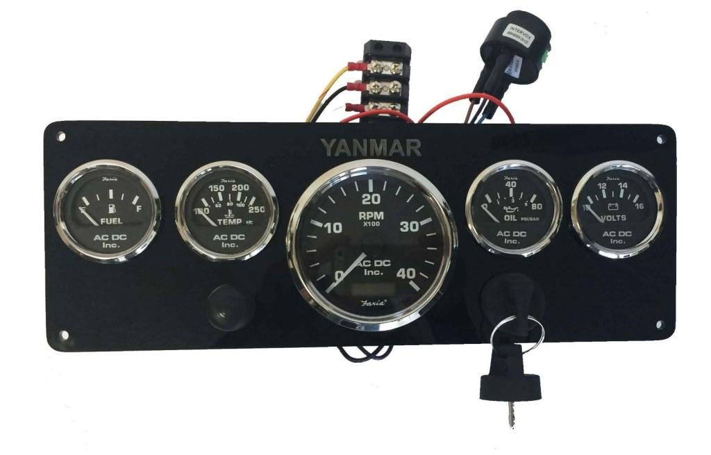 black yanmar marine instrument panel  black gauges 14 u2033 x 5