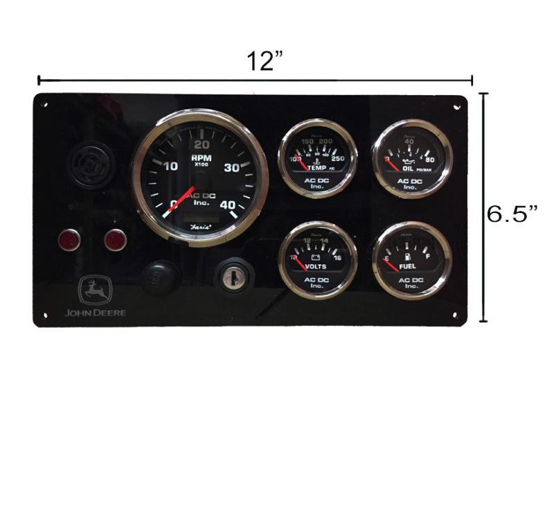 John Deere Engine Panel  Black Gauges  U2013 Ac Dc Marine Inc
